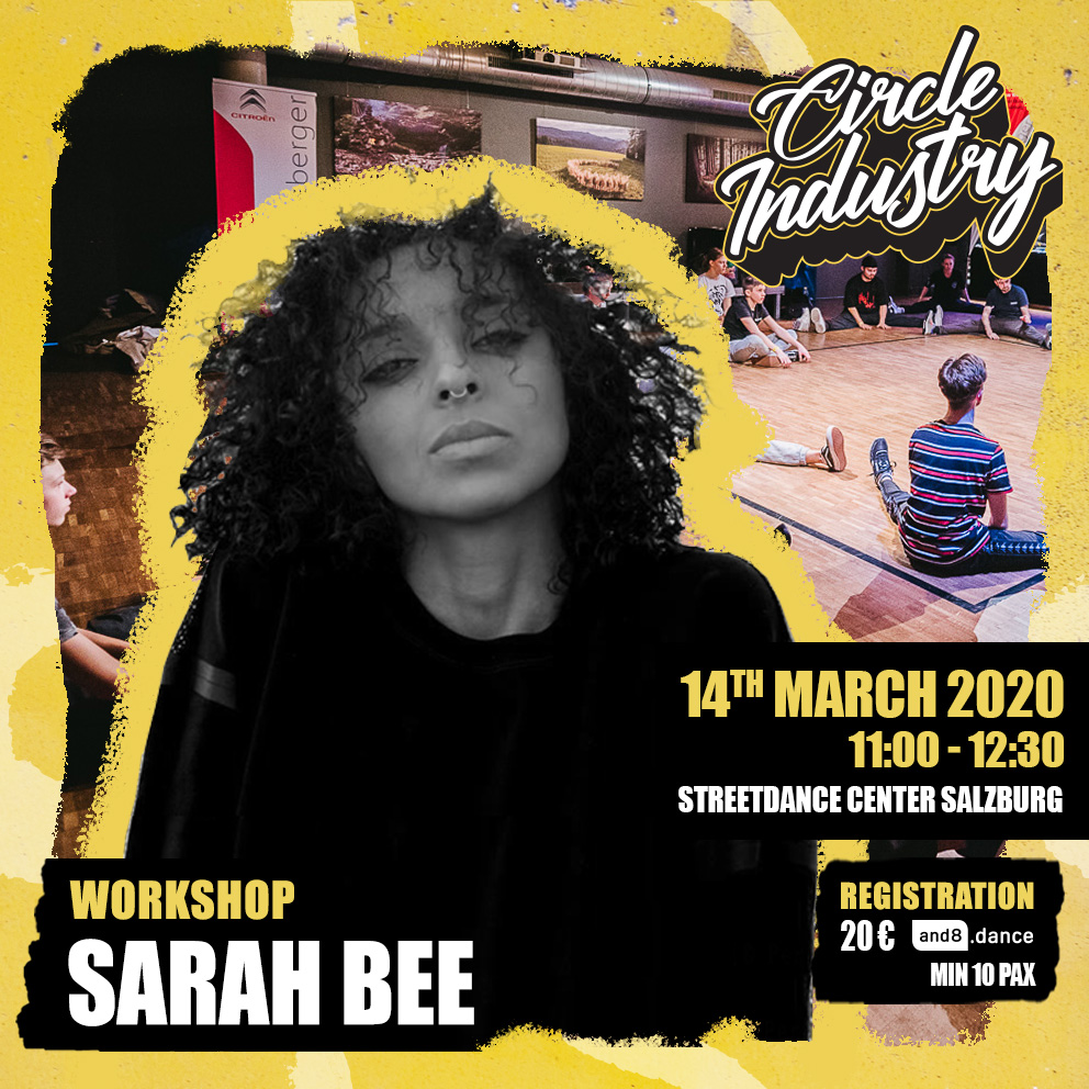 Sarah Bee's Circle Industry Workshop is on March 14 11:00 in Streetdance Center